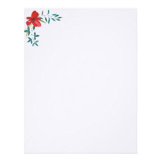RED FLOWER AND GREEN LEAVES. FLORAL LETTERHEAD
