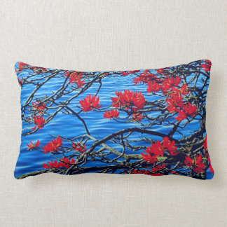 Red flower and river flowing cushion