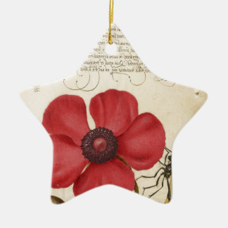 Red Flower And Snail Ceramic Star Ornament