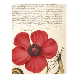 Red Flower And Snail Letterhead Design