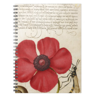 Red Flower And Snail Spiral Note Books