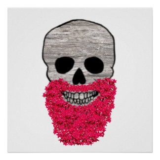 Red Flower Beard Day of the Dead Skull Poster