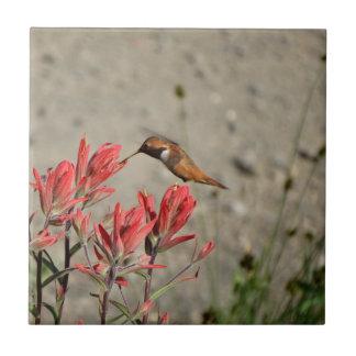 Red flower bird tile