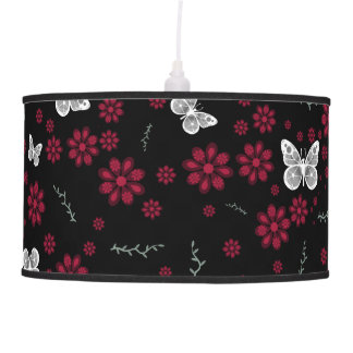 Red Flower Butterfly Hanging Lamps