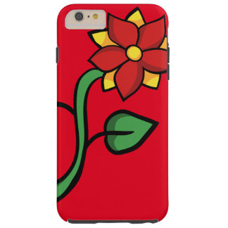 Red flower tough iPhone 6 plus case