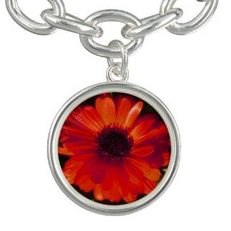 Red Flower Charm Bracelet
