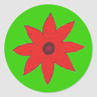 red flower classic round sticker