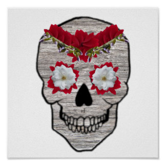 Red Flower Day of the Dead Hipster Skull Print