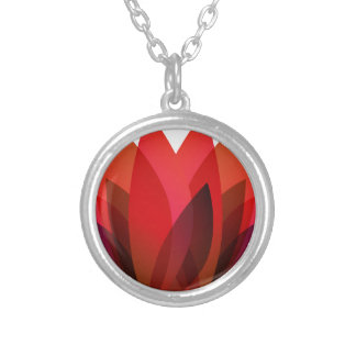 Red Flower Design Silver Plated Necklace