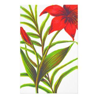 Red Flower Design Stationery Design