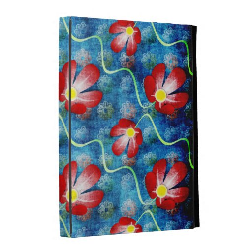 Red Flower Fabric Pattern iPad Folio Case