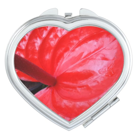 Red Flower  Heart Compact Mirror