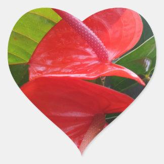 Red Flower Heart Sticker