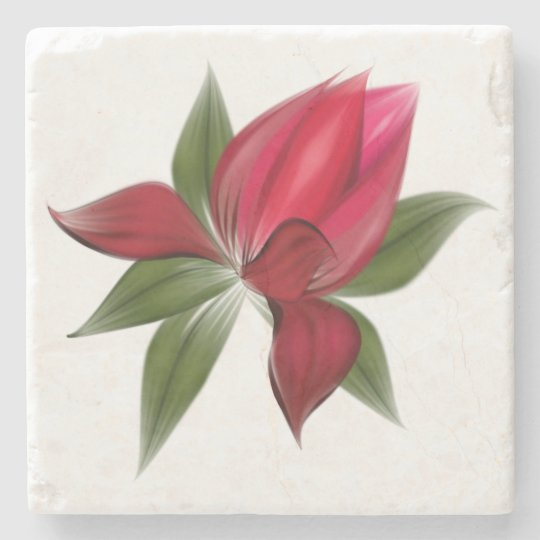 Red Flower in Bloom Stone Coaster