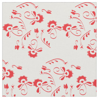Red Flower India Inspired Fabric