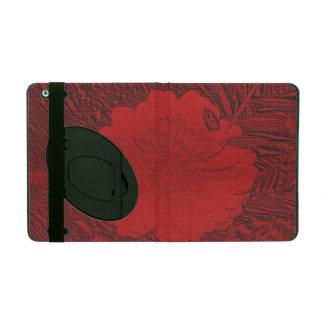 red flower iPad folio case