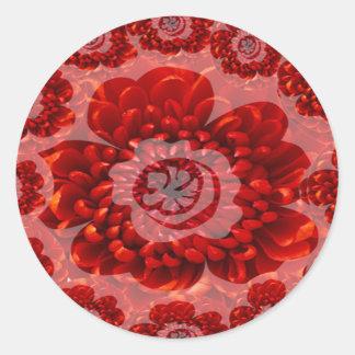 Red Flower Journey - Fantasy Worship World Round Sticker