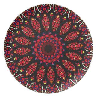 Red Flower Kaleidoscope Pattern Plate