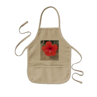 Red Flower Kids Apron