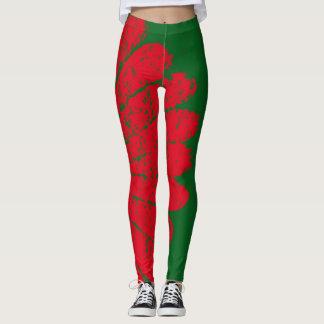 red flower leggings