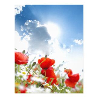 Red flower letterhead template