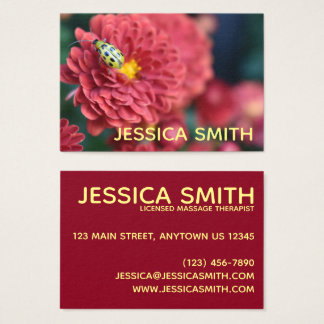 Red Flower Nature Photography Beetle Insect Bug Business Card