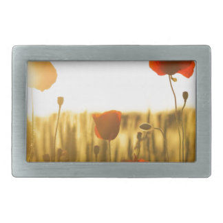 Red Flower Near White Flower during Daytime Belt Buckle