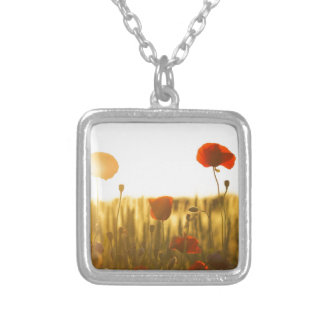 Red Flower Near White Flower during Daytime Silver Plated Necklace