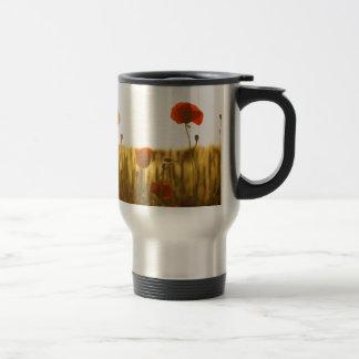 Red Flower Near White Flower during Daytime Travel Mug