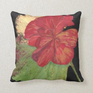 red flower on black pillow