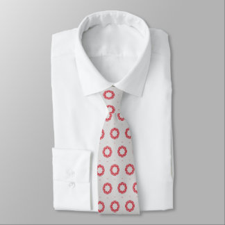 Red Flower On Gray Tie