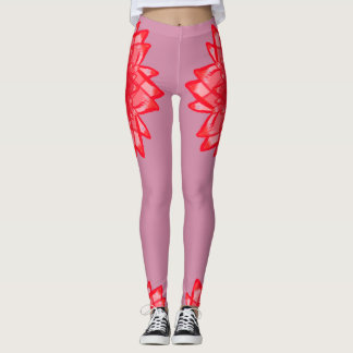 Red flower pattern your colour customizable leggings