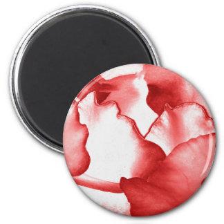 Red Flower Petals 2 Inch Round Magnet