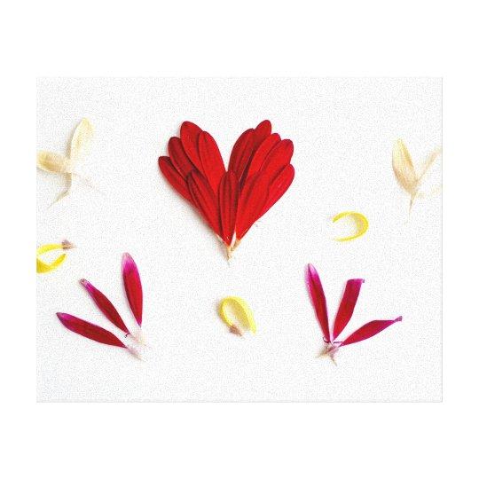 Red Flower Petals Heart Canvas Print