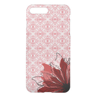 Red flower petals on lace pattern iPhone 7 plus case