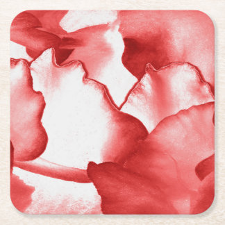 Red Flower Petals Square Paper Coaster
