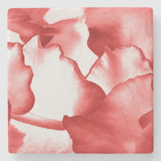 Red Flower Petals Stone Coaster