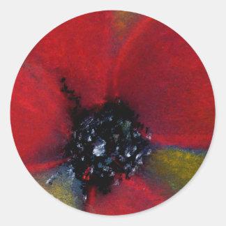 Red Flower, Poppy. Round Sticker