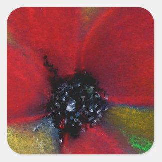 Red Flower, Poppy. Square Sticker