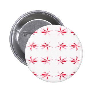 Red Flower Power Pattern. 2 Inch Round Button