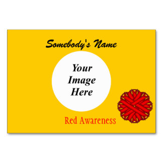 Red Flower Ribbon Template Table Cards