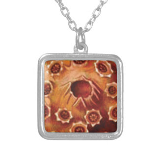 red flower ruptures silver plated necklace