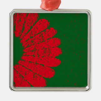 red flower Silver-Colored square ornament