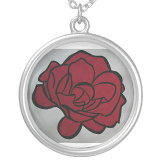Red flower silver plated necklace