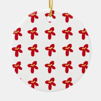Red Flower Splash Round Ceramic Ornament