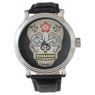 Red Flower Sugar Skull Wrist Watches