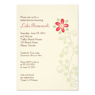 Red Flower Vine 5x7 Bridal Shower Invite