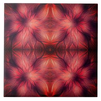 Red Flower Vintage Sculptural Tile