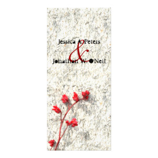 Red Flower Wedding Program Card Rack Card Design