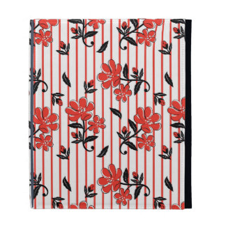 Red flower with red stripes pattern iPad folio cover